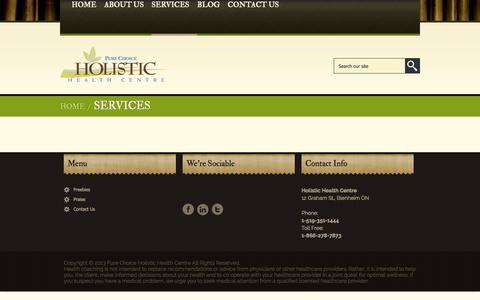 Screenshot of Services Page pcholistichealth.com - Services-Pure Choice Holistic Health Centre - captured Oct. 3, 2014