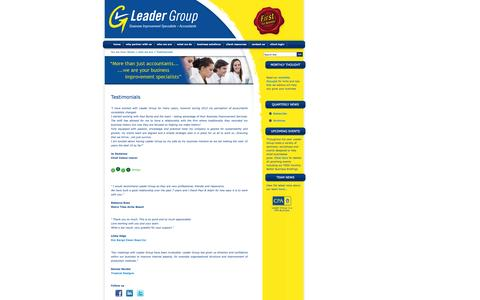 Screenshot of Testimonials Page leadergroup.net.au - Leader Group | Accountants | Whitsundays | Business Advisors | Tax Agents | Airlie Beach | Who We Are - captured Oct. 2, 2014