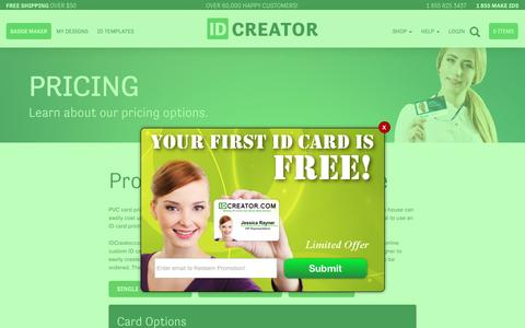 Screenshot of Pricing Page idcreator.com - IDCreator Pricing | The affordable way to make Employee ID Badges | 855-MAKE-IDS - captured July 13, 2016