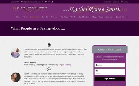 Screenshot of Testimonials Page rachelreneesmith.com - Testimonials - Rachel Renee Smith - captured Nov. 3, 2014
