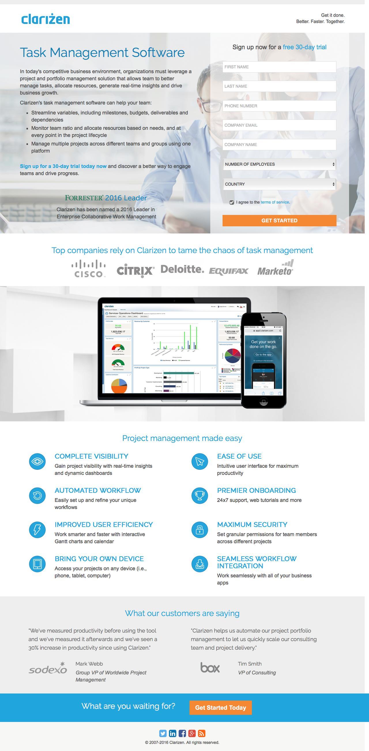 Screenshot of clarizen.com - Task Management Software l Clarizen - captured Nov. 24, 2016