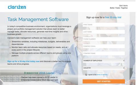Screenshot of Landing Page clarizen.com - Task Management Software l Clarizen - captured Nov. 24, 2016