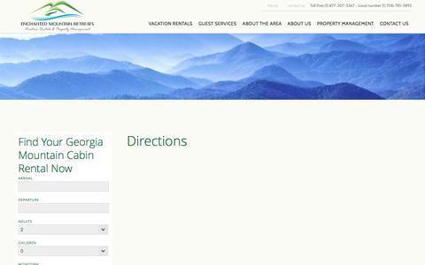 Screenshot of Maps & Directions Page georgiaemr.com - GA Mountain Cabin Rentals Directions   Best Rental Cabins in Blue Ridge - captured Nov. 8, 2016