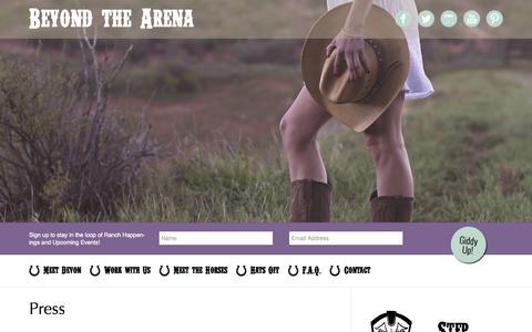 Screenshot of Press Page beyondthearena.com - Press - Beyond The Arena - captured Oct. 5, 2014