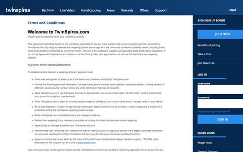 Screenshot of Terms Page twinspires.com - TwinSpires.com | Terms and Conditions | Bet Online With The Leader In Online Horse Racing - captured Oct. 18, 2018