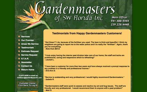Screenshot of Testimonials Page gardenmastersfl.com - Gardenmasters FL Inc. Testimonials from Happy Gardenmasters Customers! - captured Oct. 2, 2014