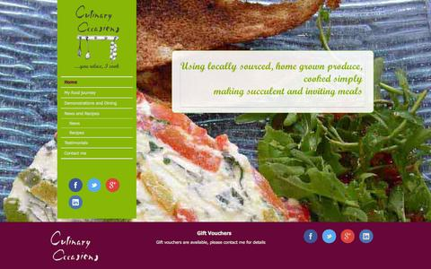 Screenshot of Home Page culinaryoccasions.co.uk - Culinary Occasions | ...you relax, I cook - captured Sept. 30, 2014