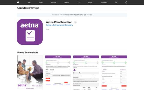 Aetna Plan Selection on the AppStore