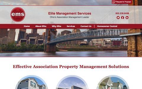 Screenshot of Home Page emsohio.com - HOA Management | Condo Association Management | Elite Management - captured Oct. 2, 2014