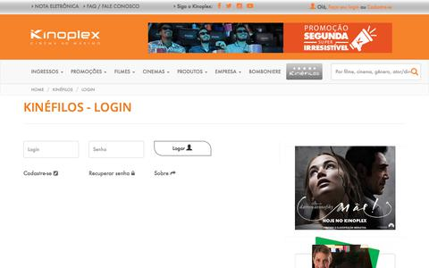 Screenshot of Login Page kinoplex.com.br - Kinéfilos - Login | Kinoplex - Cinema ao Máximo - captured Sept. 21, 2017