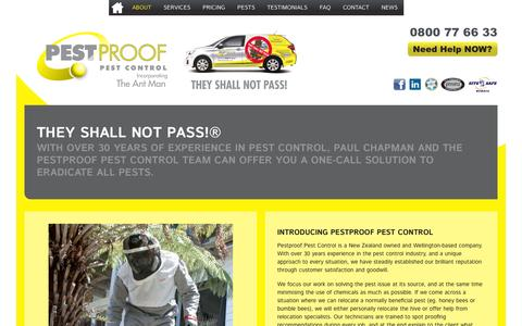 Screenshot of About Page pestproof.co.nz - They Shall Not Pass!® | Pestproof Pest Control - captured Jan. 27, 2016