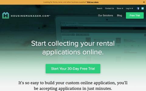 Screenshot of Trial Page housingmanager.com - Online Rental Applications - Free Trial - captured Nov. 2, 2014