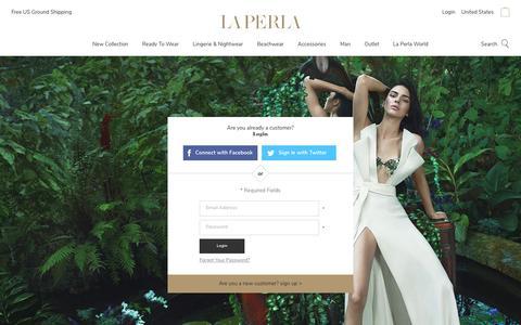 Screenshot of Login Page laperla.com - Customer Login - captured Sept. 21, 2017
