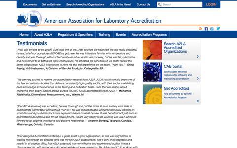 Screenshot of Testimonials Page a2la.org - About A2LA - captured Oct. 4, 2014