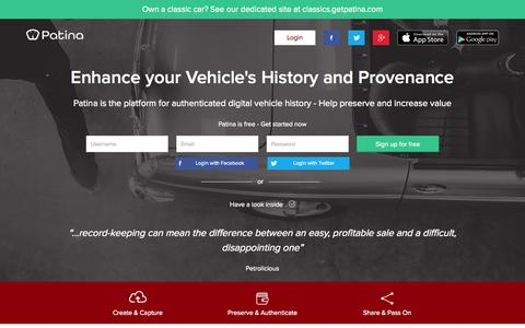Screenshot of Home Page getpatina.com - Patina - Authenticated digital vehicle history - captured Sept. 20, 2015