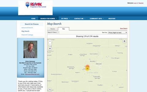 Screenshot of Maps & Directions Page skiresortrealty.com - See your Breckenridge and Summit County Colorado real estate search results on a detailed map. - captured Feb. 8, 2016