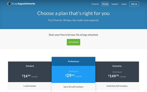 Screenshot of Pricing Page snapappointments.com - Cloud Appointment Management, Online Scheduling, and CRM Software by SnapAppointments - captured Oct. 26, 2017