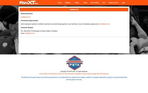 Screenshot of Support Page fanxt.com - Daily Fantasy Sports - captured July 3, 2016