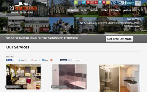 Screenshot of Services Page 123remodeling.com - Our Services - Bathroom, Kitchen, Condo, Basement, Flooring - captured Sept. 24, 2014