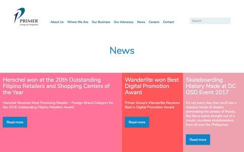 Screenshot of Press Page primergrp.com - News | Primer Group of Companies - captured Aug. 27, 2017