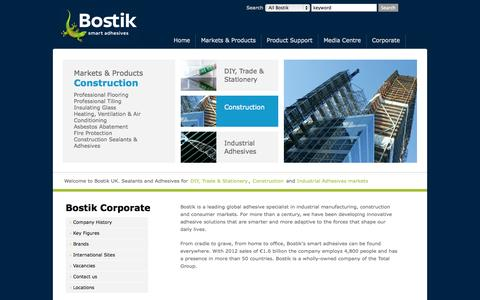 Screenshot of Home Page bostik.co.uk - Bostik is one of the worlds' leading providers of adhesive and sealant solutions. - captured Sept. 19, 2014