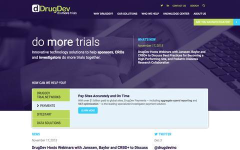 Screenshot of Home Page drugdev.com - Global Clinical Trials Technology & Management Solutions | DrugDev - captured Dec. 5, 2015