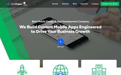 Screenshot of Home Page appschopper.com - App Development Company: Best Mobile App Development & Design Services - captured Nov. 30, 2018