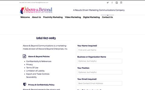 Screenshot of Contact Page abcandoit.com - Above Beyond Communications Get Started - captured Oct. 7, 2017