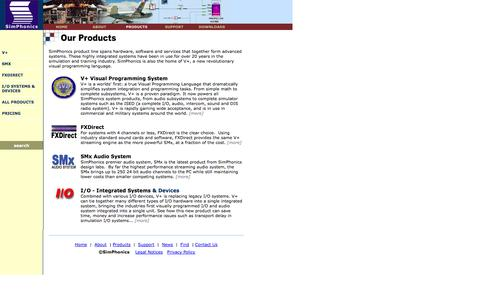 Screenshot of Products Page simphonics.com - Products - captured Oct. 26, 2014