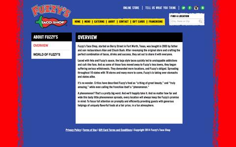 Screenshot of About Page fuzzystacoshop.com - About Fuzzy's | Fuzzy's Taco Shop - captured Sept. 23, 2014