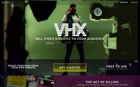 Screenshot of Home Page vhx.tv - Online Video Distribution for Film, TV, Music and More - VHX - captured Sept. 17, 2014