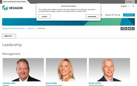 Screenshot of Team Page hexagonsafetyinfrastructure.com - Leadership | Hexagon Safety & Infrastructure - captured Jan. 4, 2020