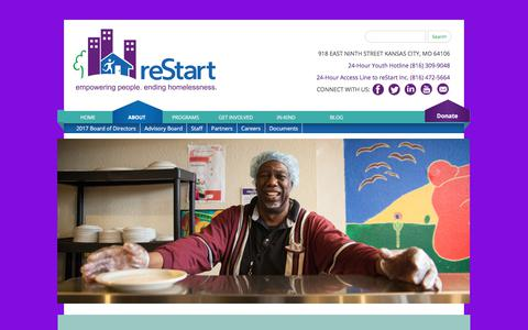 Screenshot of About Page restartinc.org - About reStart - reStart - captured Nov. 10, 2017