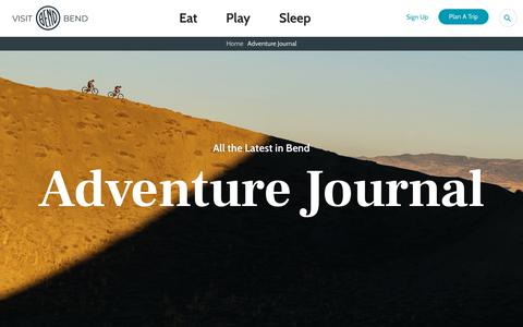 Screenshot of Blog visitbend.com - Adventure Journal - Visit Bend - captured Oct. 6, 2019
