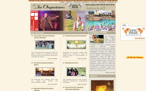 Screenshot of Home Page theorganizersindia.com - Corporate Tour Organizers India - Delhi Corporate Event Planner, Corporate Travel companies in India, Corporate Travel company in India, Corporate Tour Company in India , Conferences, Seminars,Sales Training Programs,Incentive Groups Organizing Compa - captured May 21, 2016