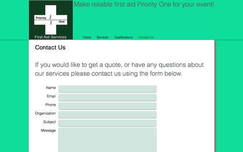 Screenshot of Contact Page priorityonefas.com - Contact Us - captured Sept. 1, 2017