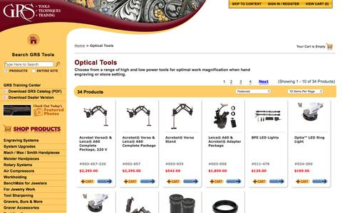 Screenshot of grstools.com - Optical Tools :: GRS Hand Engraving Tools & Training - captured March 20, 2016