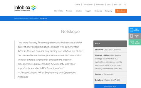 Screenshot of Case Studies Page infoblox.com - Netskope - Infoblox - captured Sept. 25, 2017