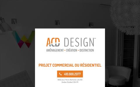 Screenshot of Home Page acd-design.ca - ACD DESIGN | AmŽnagement - CrŽation - Distinction - captured Dec. 22, 2015
