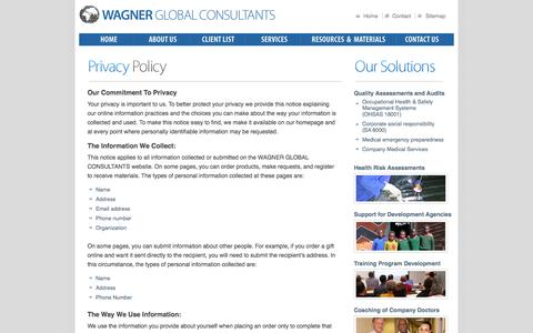 Screenshot of Privacy Page wagnerglobalconsultants.com - Wagner Global Consultants | Privacy Policy - captured Oct. 26, 2014