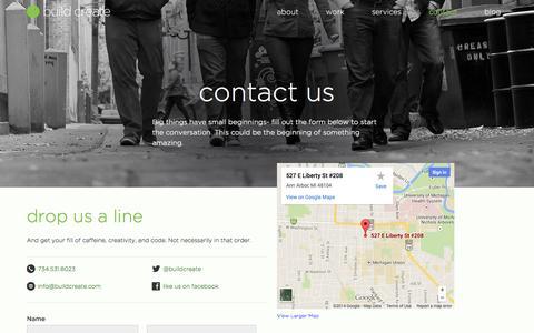 Screenshot of Contact Page buildcreate.com - contact us — Ann Arbor, Michigan Design Co. — build/create studios - captured Oct. 5, 2014