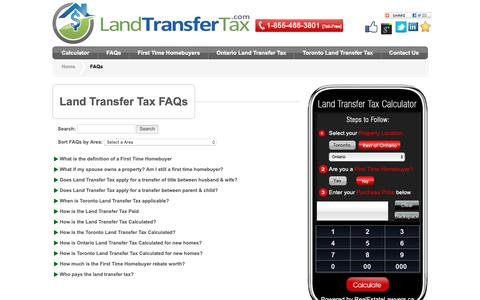 Screenshot of FAQ Page landtransfertax.com - FAQs - Toronto & Ontario Land Transfer Tax - captured Oct. 24, 2018