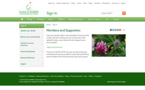 Screenshot of Login Page gwct.org.uk - Sign In - Game and Wildlife Conservation Trust - captured Oct. 1, 2014