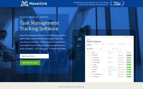 Screenshot of Landing Page mavenlink.com - Online Task Management Software | Mavenlink - captured Dec. 16, 2015