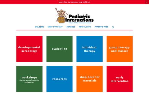 Screenshot of Services Page pediatricinteractions.com - Services — Pediatric Interactions - captured Nov. 4, 2018