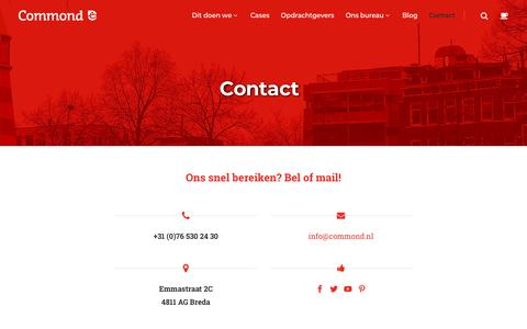 Screenshot of Contact Page commond.nl - Contact - Commond - captured July 20, 2018