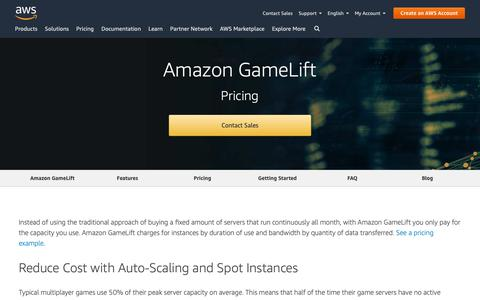 Screenshot of Pricing Page amazon.com - Amazon GameLift Pricing – Amazon Web Services (AWS) - captured May 8, 2019