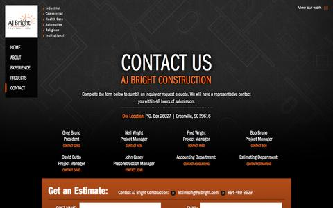 Screenshot of Contact Page ajbright.com - AJ Bright ConstructionContact - captured Feb. 4, 2016
