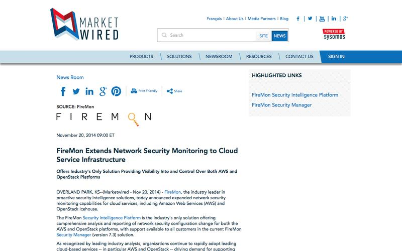 FireMon Extends Network Security Monitoring to Cloud Service Infrastructure