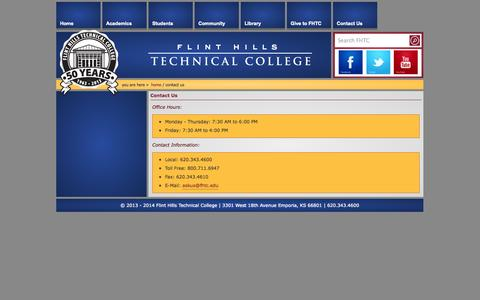 Screenshot of Contact Page fhtc.edu - Contact US - captured Oct. 6, 2014